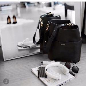 Henri Bendel Black Leather Soho Bucket Hobo